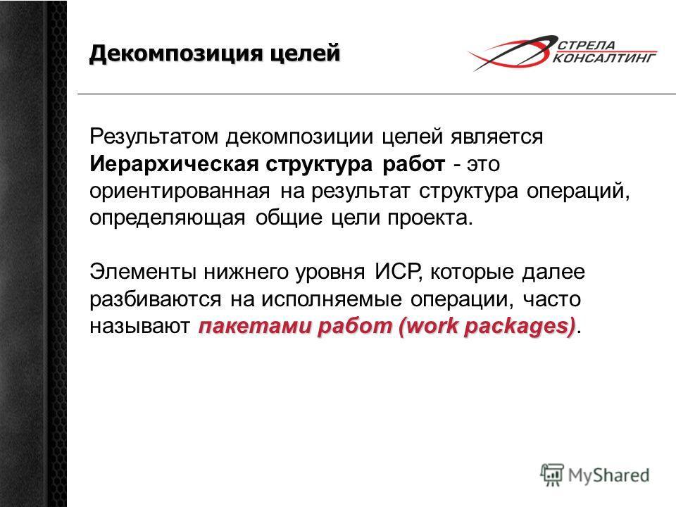 Декомпозиция целей Результатом декомпозиции целей является Иерархическая структура работ - это ориентированная на результат структура операций, определяющая общие цели проекта. пакетами работ (work packages) Элементы нижнего уровня ИСР, которые далее