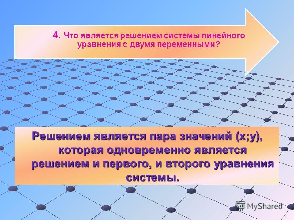 4. Что является решением системы линейного уравнения с двумя переменными? Решением является пара значений (х;у), которая одновременно является решением и первого, и второго уравнения системы.