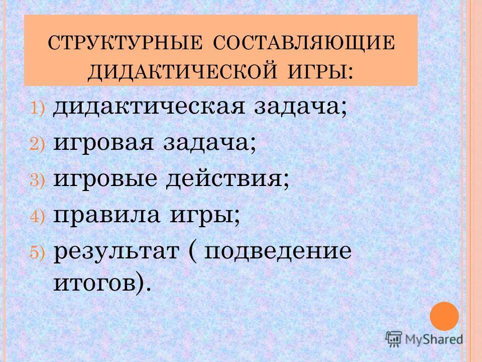 СТРУКТУРНЫЕ СОСТАВЛЯЮЩИЕ ДИДАКТИЧЕСКОЙ ИГРЫ : 1) дидактическая задача; 2) игровая задача; 3) игровые действия; 4) правила игры; 5) результат ( подведение итогов).