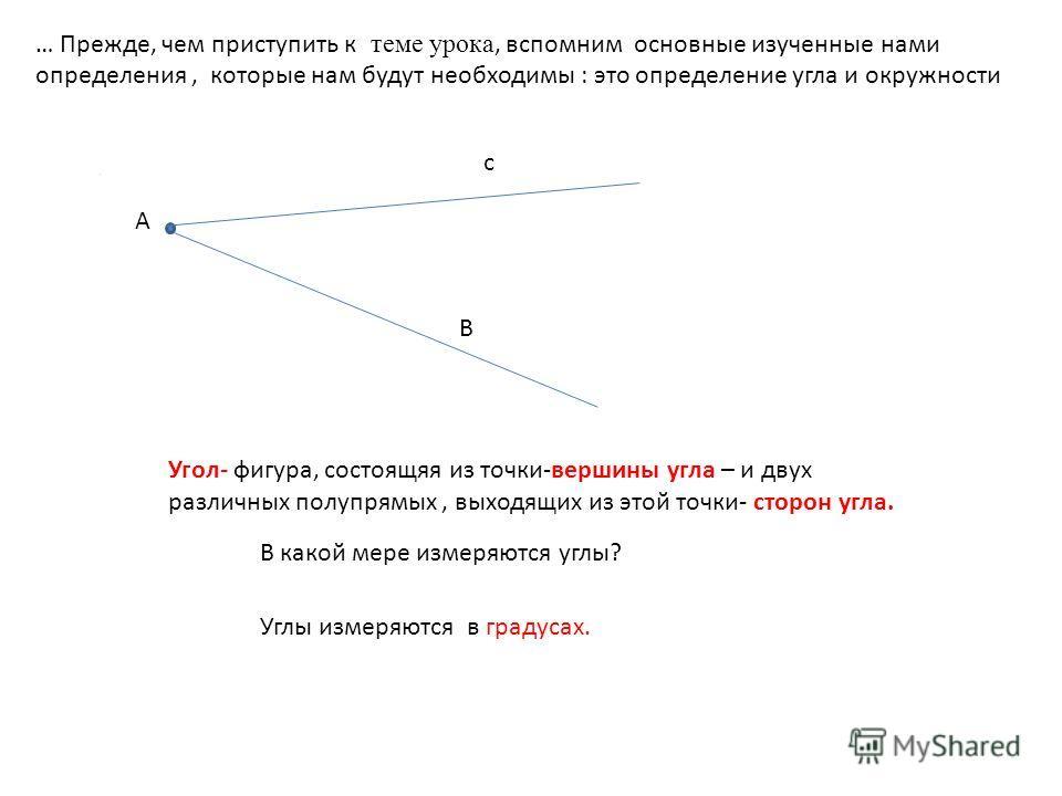 А … Прежде, чем приступить к теме урока, вспомним основные изученные нами определения, которые нам будут необходимы : это определение угла и окружности Угол- фигура, состоящая из точки-вершины угла – и двух различных полупрямых, выходящих из этой точ