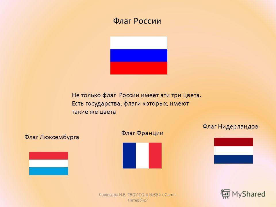 Флаг Нидерландов Флаг Люксембурга Флаг Франции Не только флаг России имеет эти три цвета. Есть государства, флаги которых, имеют такие же цвета Флаг России Кожокарь И.Е. ГБОУ СОШ 354 г.Санкт- Петербург