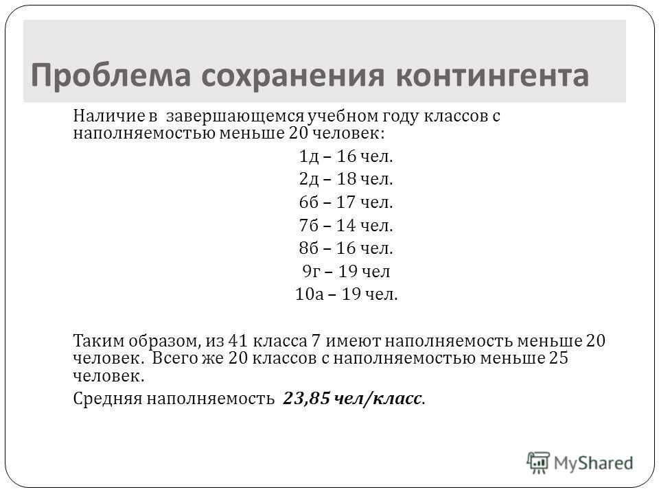 Проблема сохранения контингента Наличие в завершающемся учебном году классов с наполняемостью меньше 20 человек : 1 д – 16 чел. 2 д – 18 чел. 6 б – 17 чел. 7 б – 14 чел. 8 б – 16 чел. 9 г – 19 чел 10 а – 19 чел. Таким образом, из 41 класса 7 имеют на