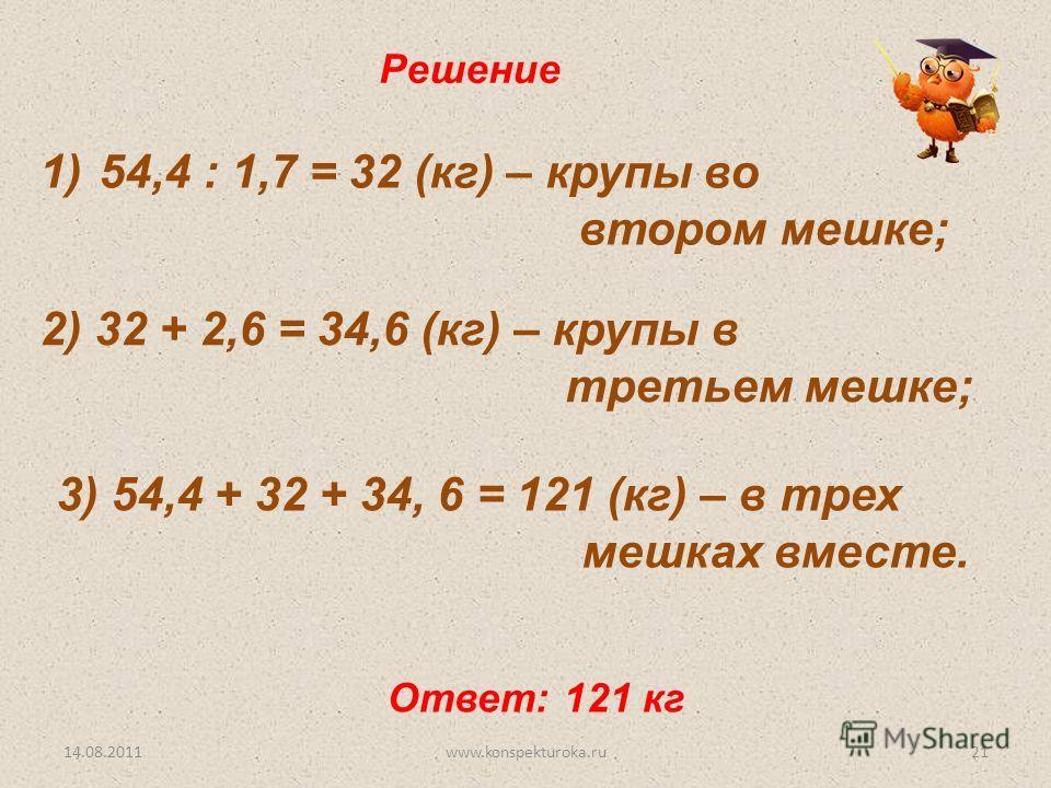 Решение 1)54,4 : 1,7 = 32 (кг) – крупы во втором мешке; 2) 32 + 2,6 = 34,6 (кг) – крупы в третьем мешке; 3) 54,4 + 32 + 34, 6 = 121 (кг) – в трех мешках вместе. Ответ: 121 кг 14.08.201121www.konspekturoka.ru