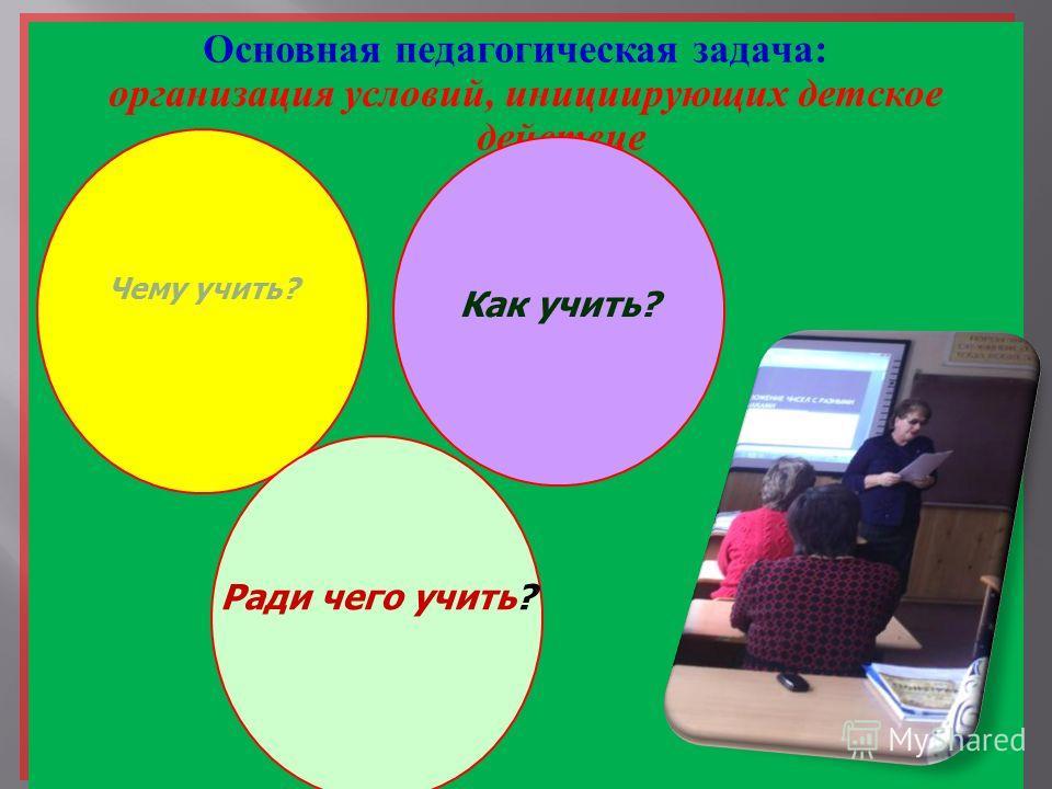 Основная педагогическая задача : организация условий, инициирующих детское действие Основная педагогическая задача : организация условий, инициирующих детское действие Чему учить? Как учить? Ради чего учить?