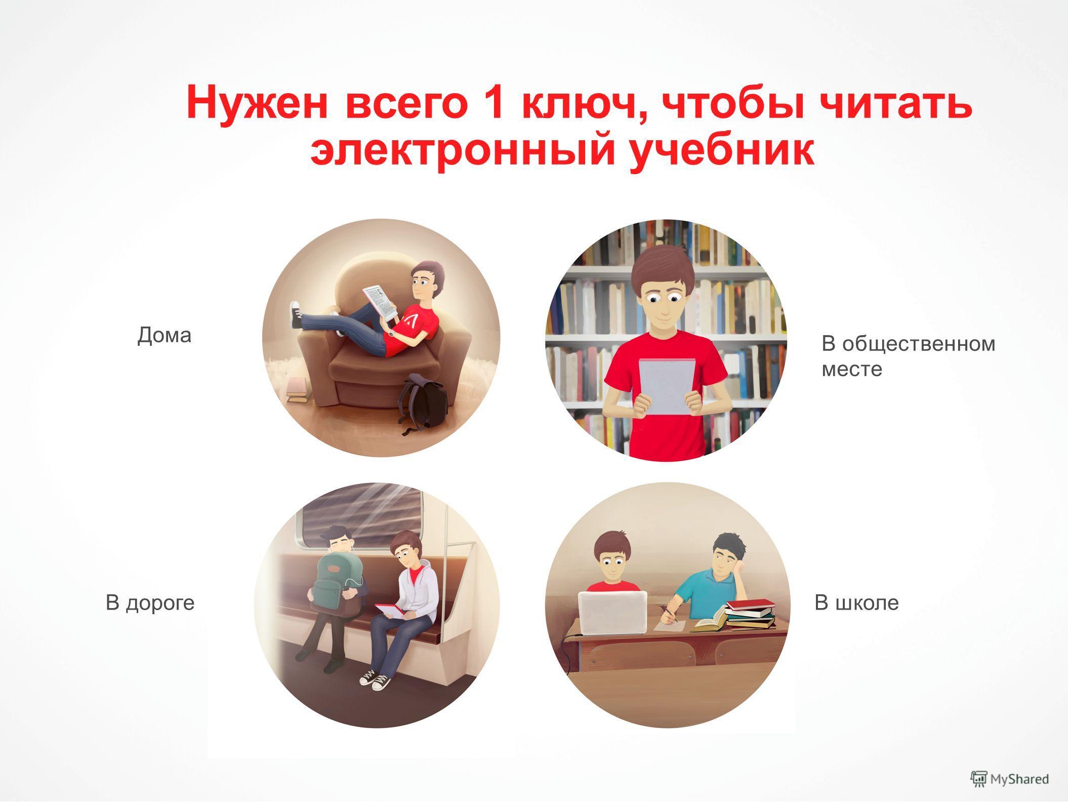 Нужен всего 1 ключ, чтобы читать электронный учебник Дома Дома В дорогеВ школе В общественном месте