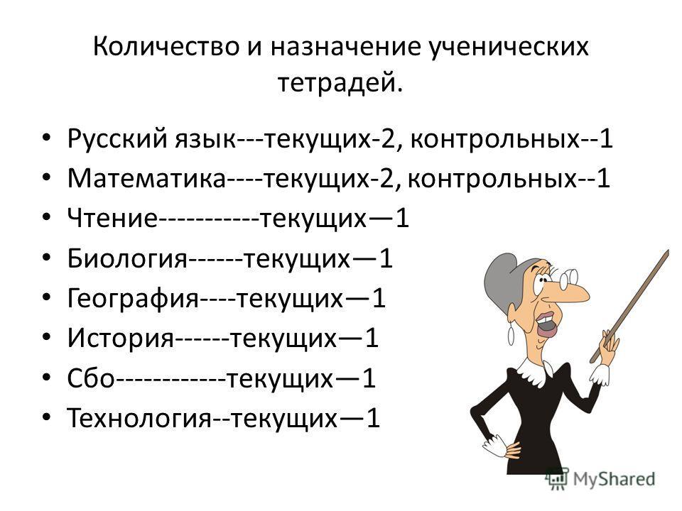 Количество и назначение ученических тетрадей. Русский язык---текущих-2, контрольных--1 Математика----текущих-2, контрольных--1 Чтение-----------текущих 1 Биология------текущих 1 География----текущих 1 История------текущих 1 Сбо------------текущих 1 Т
