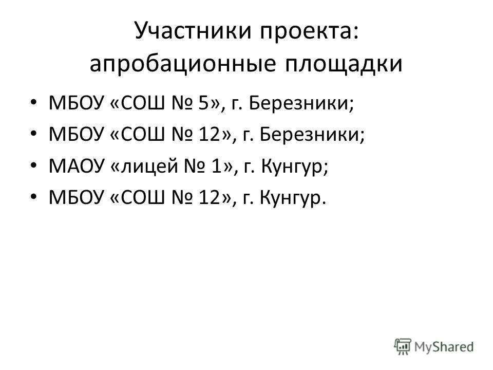 Участники проекта: апробационные площадки МБОУ «СОШ 5», г. Березники; МБОУ «СОШ 12», г. Березники; МАОУ «лицей 1», г. Кунгур; МБОУ «СОШ 12», г. Кунгур.