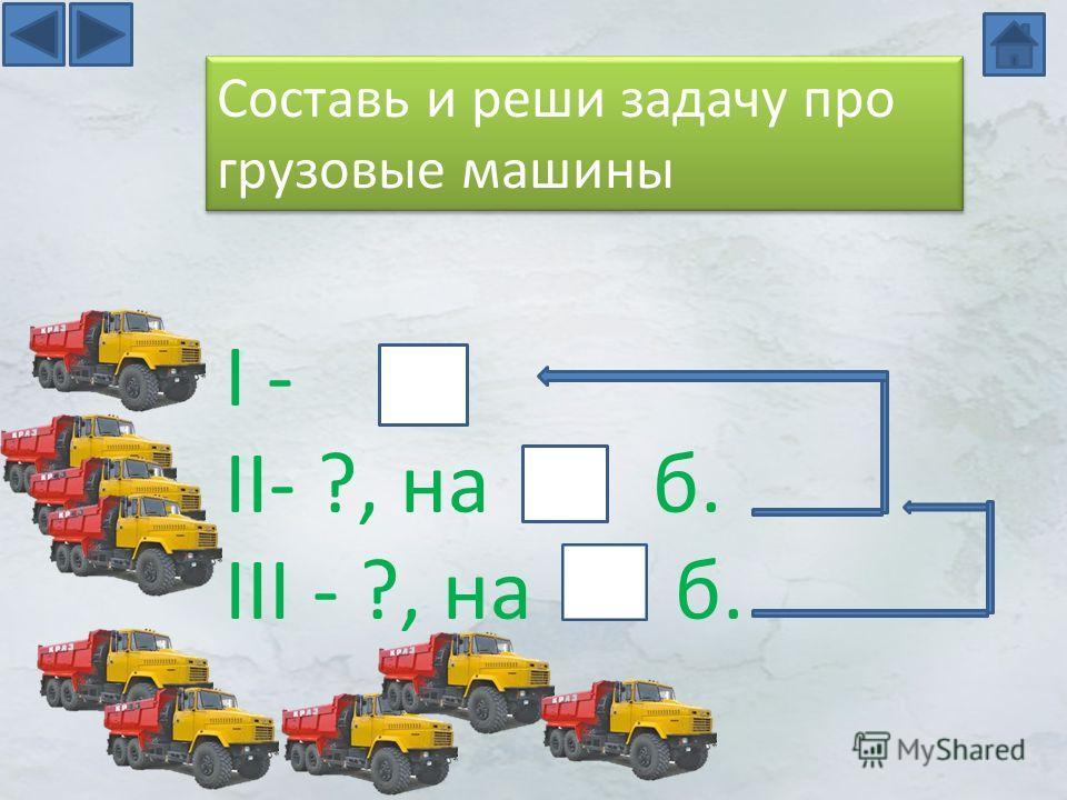 I - II- ?, на б. III - ?, на б. Составь и реши задачу про грузовые машины
