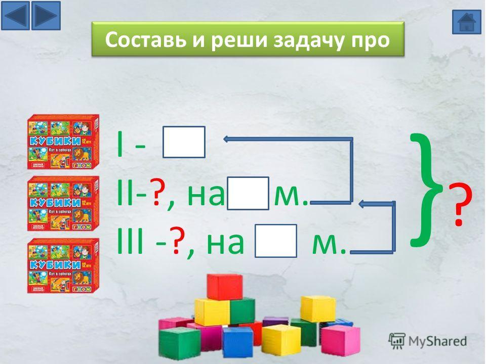 Составь и реши задачу про I - II-?, на м. III -?, на м. }?}?