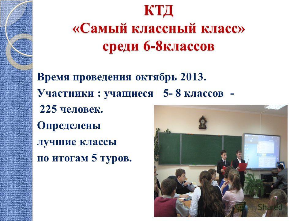 КТД «Самый классный класс» среди 6-8 классов Время проведения октябрь 2013. Участники : учащиеся 5- 8 классов - 225 человек. Определены лучшие классы по итогам 5 туров.