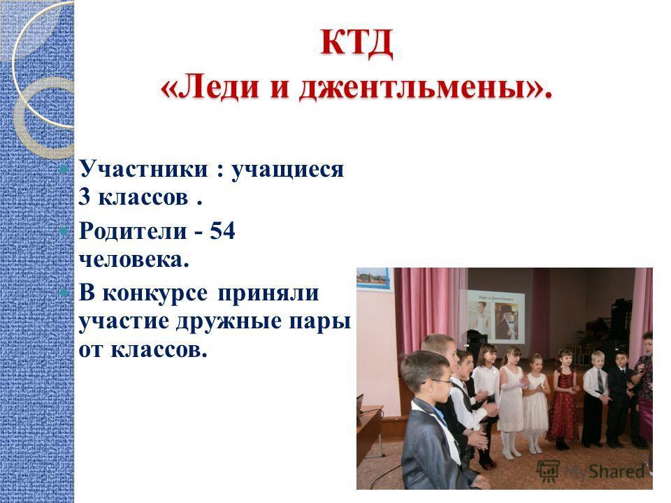 КТД «Леди и джентльмены». Участники : учащиеся 3 классов. Родители - 54 человека. В конкурсе приняли участие дружные пары от классов.