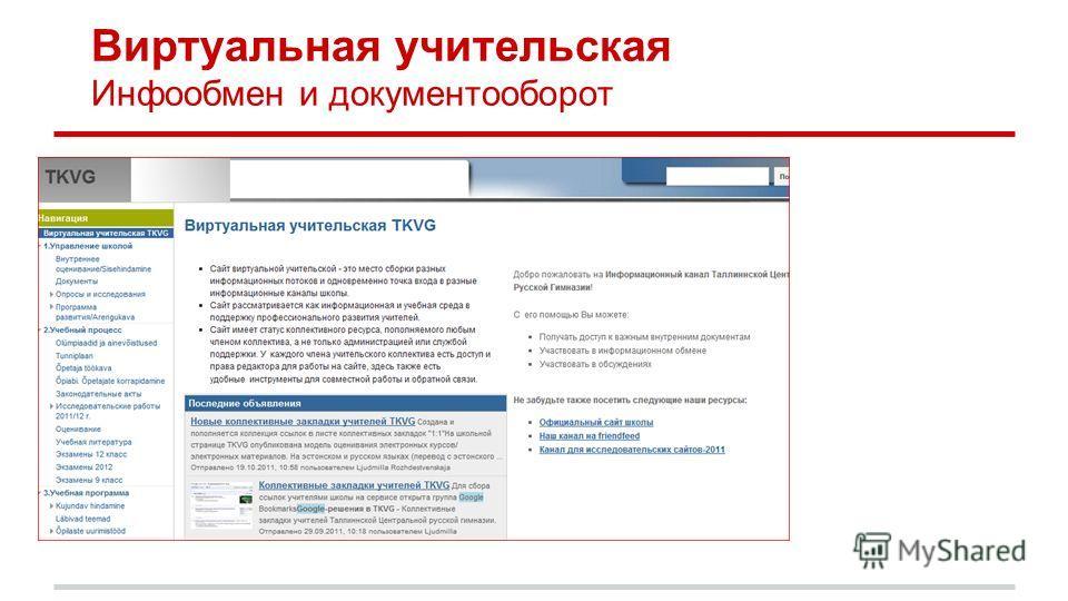 Виртуальная учительская Инфообмен и документооборот