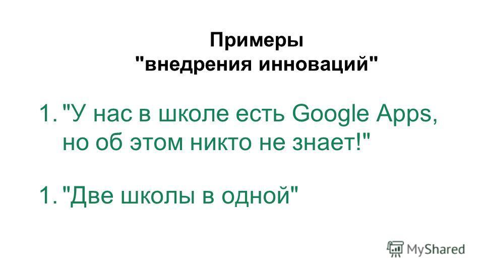 Примеры внедрения инноваций 1.У нас в школе есть Google Apps, но об этом никто не знает! 1.Две школы в одной