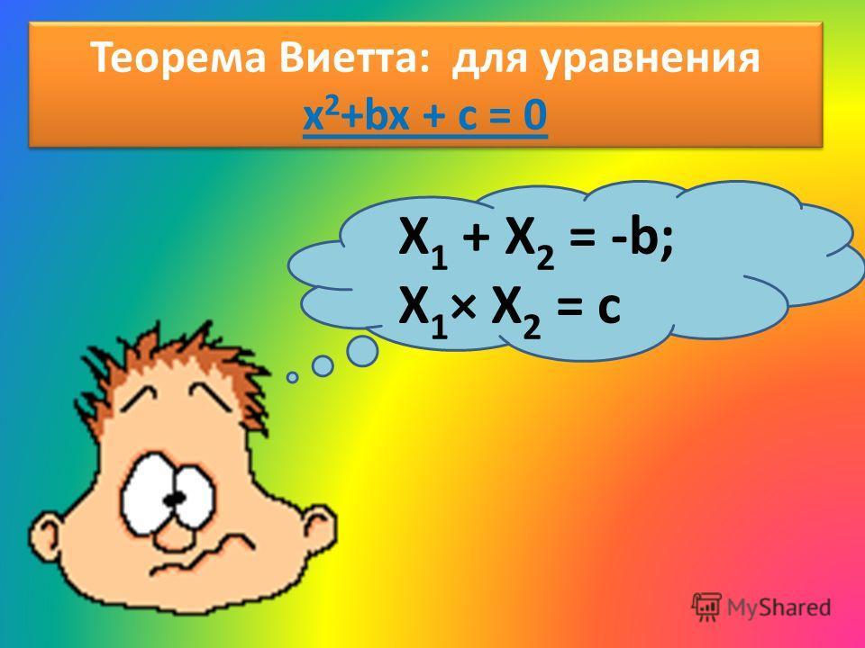 Теорема Виетта: для уравнения x 2 +bx + c = 0 X 1 + X 2 = -b; X 1 × X 2 = c