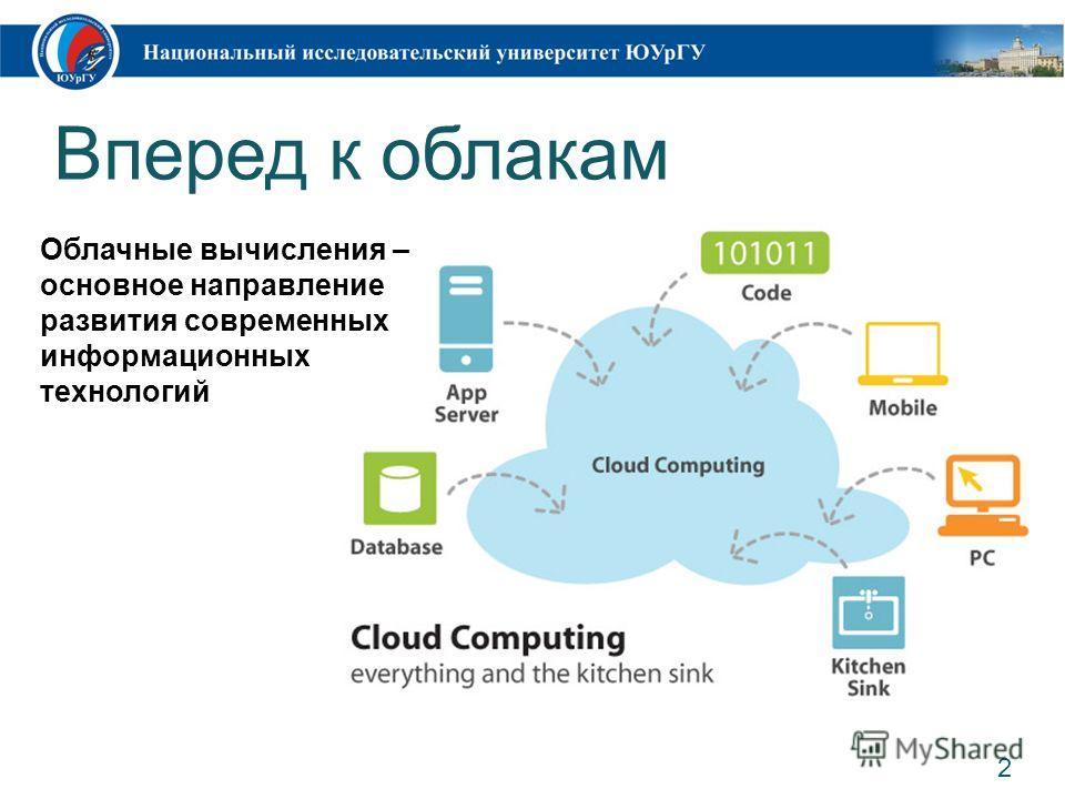 Вперед к облакам 2 Облачные вычисления – основное направление развития современных информационных технологий