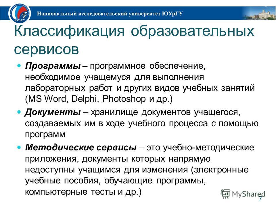 Классификация образовательных сервисов Программы – программное обеспечение, необходимое учащемуся для выполнения лабораторных работ и других видов учебных занятий (MS Word, Delphi, Photoshop и др.) Документы – хранилище документов учащегося, создавае