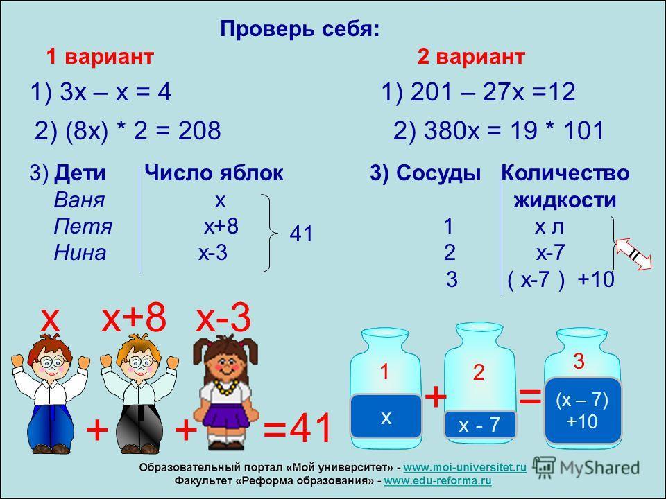Проверь себя: 1 вариант 2 вариант 1) 3 х – х = 4 1) 201 – 27 х =12 2) (8 х) * 2 = 208 2) 380 х = 19 * 101 3) Дети Число яблок 3) Сосуды Количество Ваня х жидкости Петя х+8 1 х л Нина х-3 2 х-7 3 ( х-7 ) +10 41 = 1 2 3 x x - 7 (x – 7) +10 += xx+8x-3 +