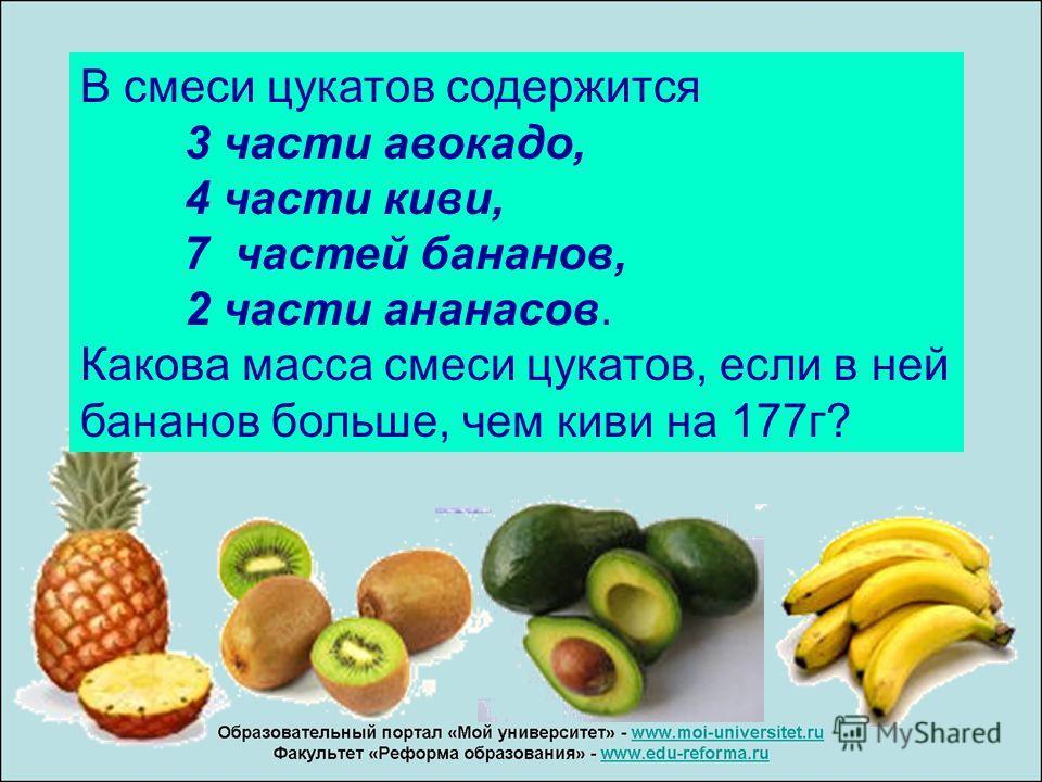В смеси цукатов содержится 3 части авокадо, 4 части киви, 7 частей бананов, 2 части ананасов. Какова масса смеси цукатов, если в ней бананов больше, чем киви на 177 г?
