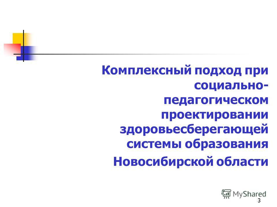 3 Комплексный подход при социально- педагогическом проектировании здоровьесберегающей системы образования Новосибирской области