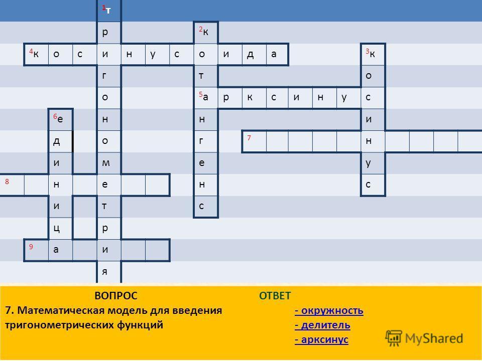 1 т 1 т р 2 к 2 к 4 к 4 косинусоида 3 к 3 к гто о 5 а 5 арксинус 6 е 6 енни дог 7 н имеу 8 ненс итс цр 9 аи я ВОПРОС 7. Математическая модель для введения тригонометрических функций ОТВЕТ - окружность - делитель - арксинус