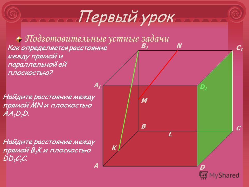 Первый урок Подготовительные устные задачи A B C D A1A1 B1B1 C1C1 D1D1 M K L N Как определяется расстояние между прямой и параллельной ей плоскостью? Найдите расстояние между прямой MN и плоскостью AA 1 D 1 D. Найдите расстояние между прямой B 1 K и