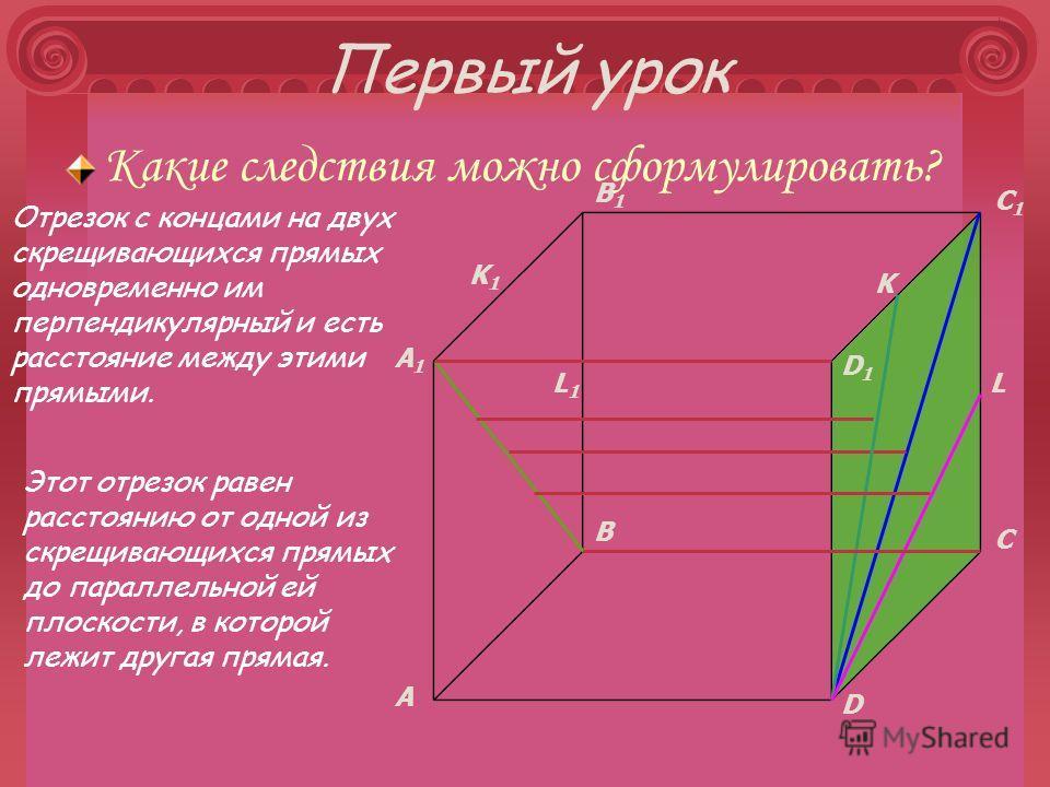 Первый урок Какие следствия можно сформулировать? A B C D A1A1 B1B1 C1C1 D1D1 K L Отрезок с концами на двух скрещивающихся прямых одновременно им перпендикулярный и есть расстояние между этими прямыми. K1K1 L1L1 Этот отрезок равен расстоянию от одной