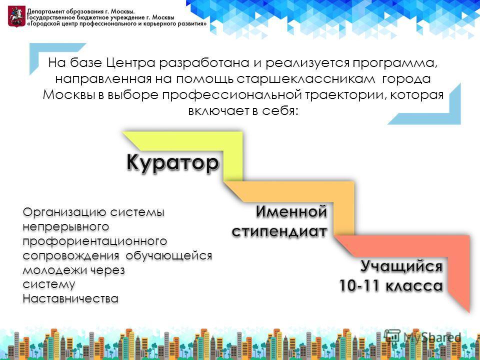 На базе Центра разработана и реализуется программа, направленная на помощь старшеклассникам города Москвы в выборе профессиональной траектории, которая включает в себя: Организацию системы непрерывного профориентационного сопровождения обучающейся мо