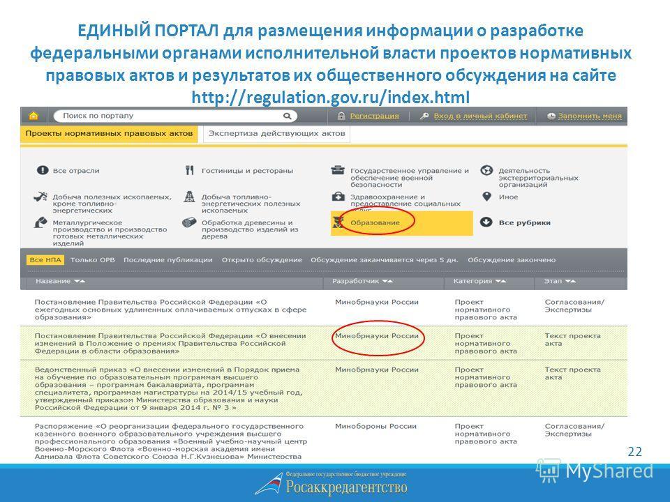 ЕДИНЫЙ ПОРТАЛ для размещения информации о разработке федеральными органами исполнительной власти проектов нормативных правовых актов и результатов их общественного обсуждения на сайте http://regulation.gov.ru/index.html 22