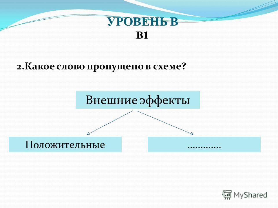 2. Какое слово пропущено в схеме? УРОВЕНЬ В В1 Внешние эффекты Положительные………….