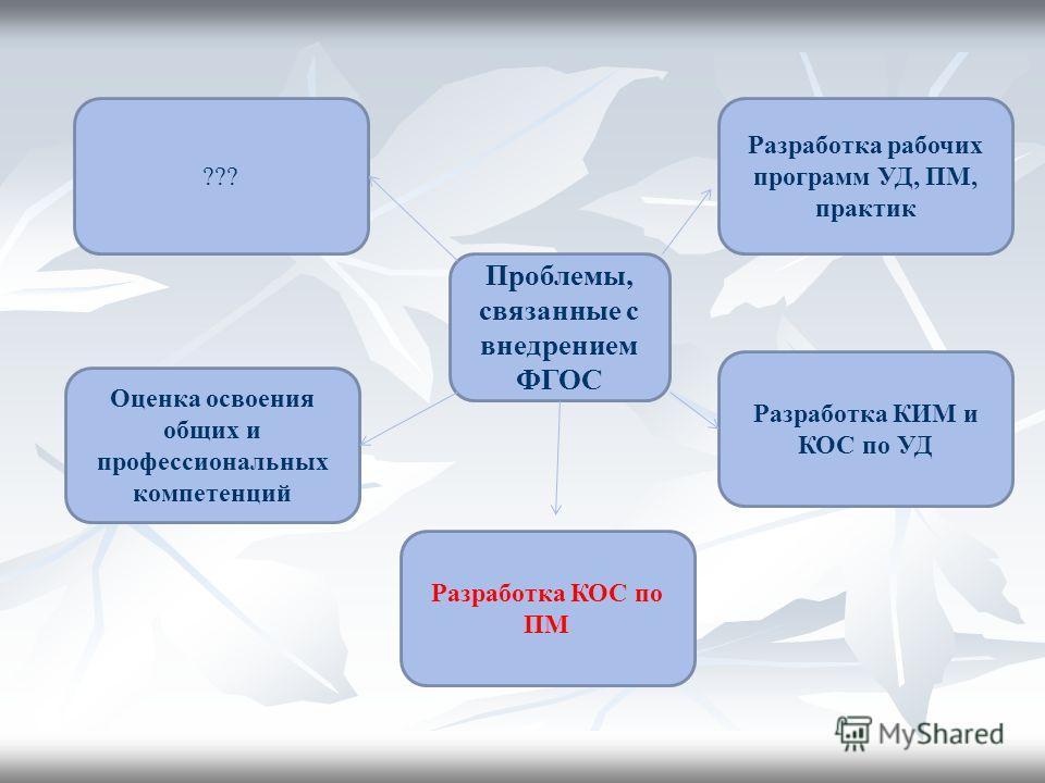 Проблемы, связанные с внедрением ФГОС Оценка освоения общих и профессиональных компетенций Разработка КОС по ПМ Разработка КИМ и КОС по УД Разработка рабочих программ УД, ПМ, практик ???