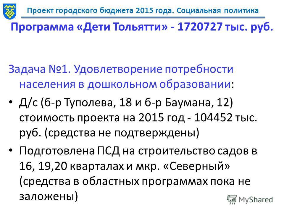 Проект городского бюджета 2015 года. Социальная политика Программа «Дети Тольятти» - 1720727 тыс. руб. Задача 1. Удовлетворение потребности населения в дошкольном образовании: Д/с (б-р Туполева, 18 и б-р Баумана, 12) стоимость проекта на 2015 год - 1