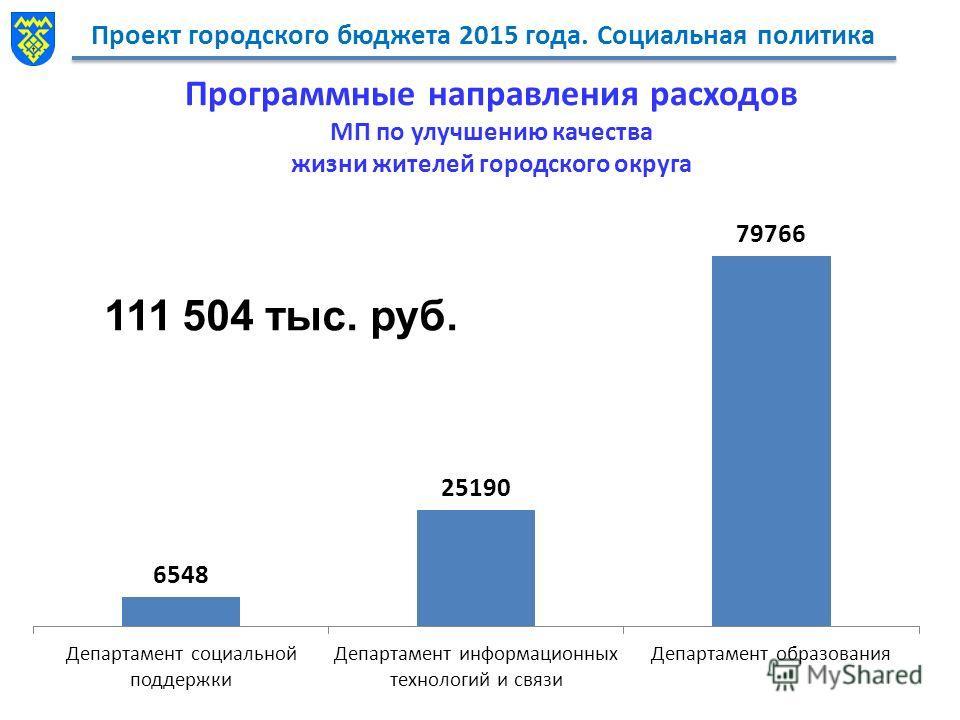 Проект городского бюджета 2015 года. Социальная политика Программные направления расходов МП по улучшению качества жизни жителей городского округа 5770 тыс. руб. 111 504 тыс. руб.