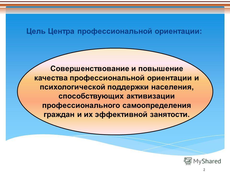 2 Цель Центра профессиональной ориентации: Совершенствование и повышение качества профессиональной ориентации и психологической поддержки населения, способствующих активизации профессионального самоопределения граждан и их эффективной занятости.