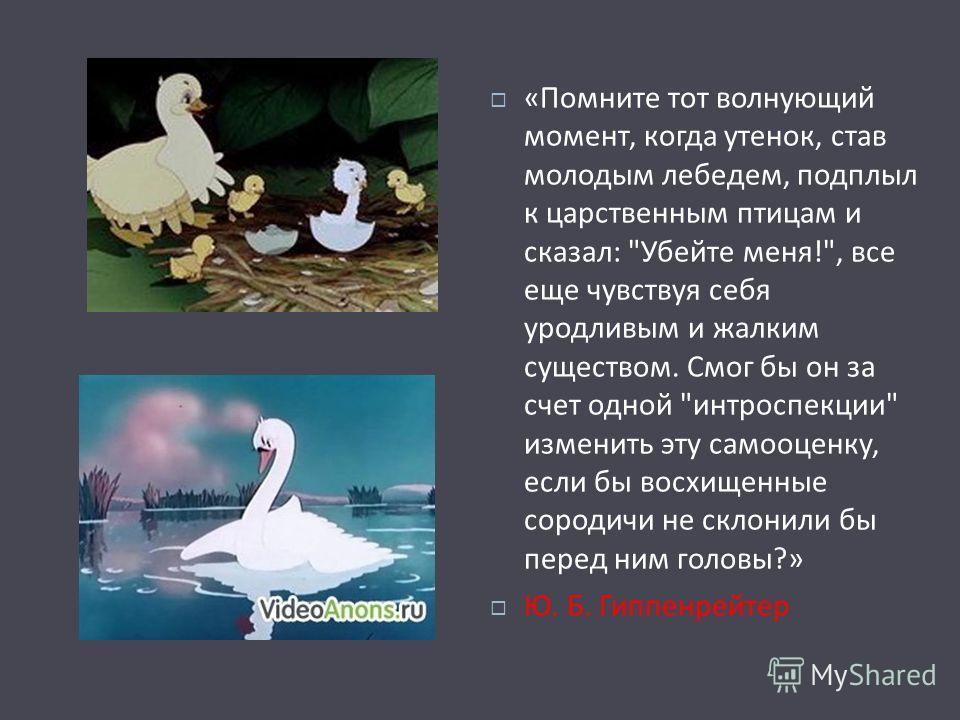 « Помните тот волнующий момент, когда утенок, став молодым лебедем, подплыл к царственным птицам и сказал :