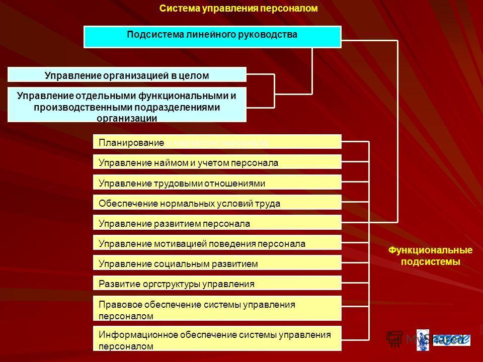 Система управления персоналом Подсистема линейного руководства Управление организацией в целом Управление отдельными функциональными и производственными подразделениями организации Планирование и маркетинг персонала Управление наймом и учетом персона