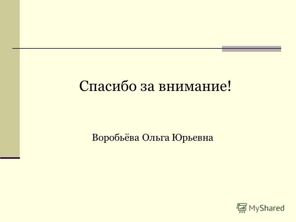 Спасибо за внимание! Воробьёва Ольга Юрьевна
