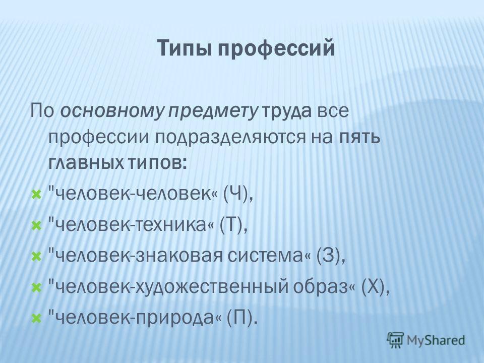 Типы профессий По основному предмету труда все профессии подразделяются на пять главных типов: человек-человек« (Ч), человек-техника« (Т), человек-знаковая система« (З), человек-художественный образ« (Х), человек-природа« (П).