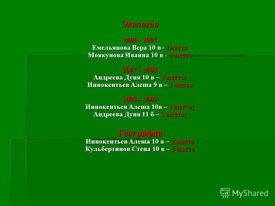 Экология 2006 - 2007 Емельянова Вера 10 в– 1 место Моякунова Иванна 10 в - 4 место 2007 – 2008 Андреева Дуня 10 в – 1 место; Иннокентьев Алеша 9 в – 1 место 2008 – 2009 Иннокентьев Алеша 10 в – 1 место; Андреева Дуня 11 б – 1 место; География Иннокен