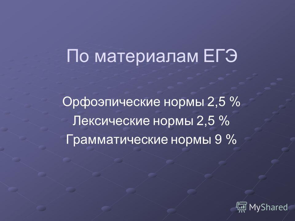 По материалам ЕГЭ Орфоэпические нормы 2,5 % Лексические нормы 2,5 % Грамматические нормы 9 %