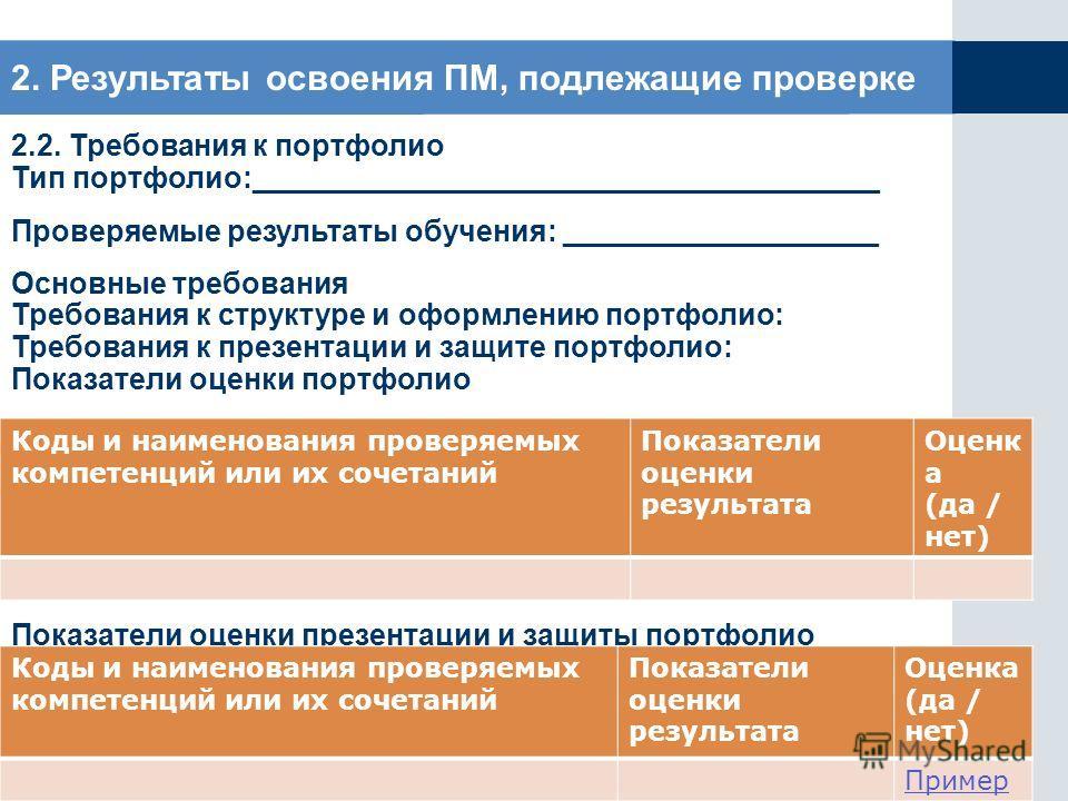 2. Результаты освоения ПМ, подлежащие проверке 2.2. Требования к портфолио Тип портфолио:______________________________________ Проверяемые результаты обучения: ___________________ Основные требования Требования к структуре и оформлению портфолио: Тр