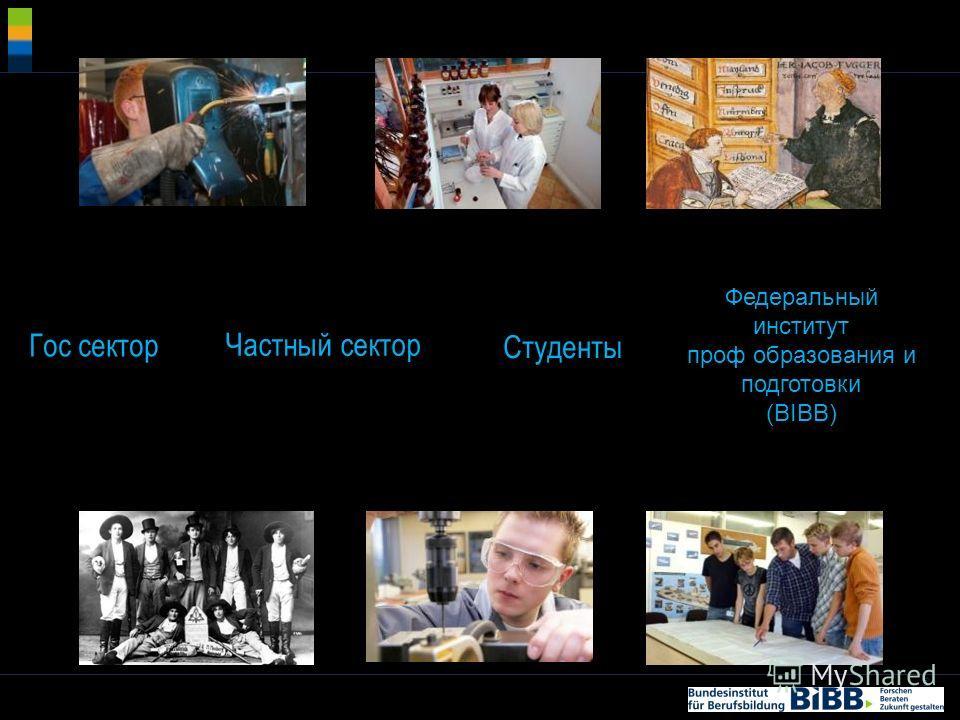 ® Частный сектор Студенты Федеральный институт проф образования и подготовки (BIBB) Гос сектор