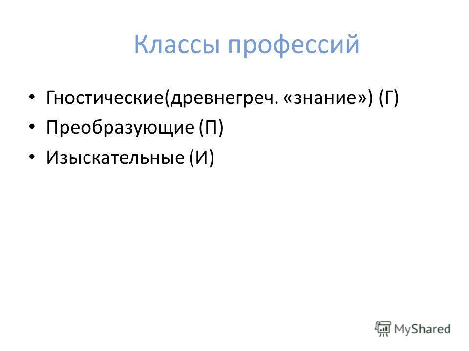 Классы профессий Гностические(древнегреч. «знание») (Г) Преобразующие (П) Изыскательные (И)