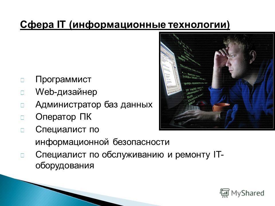 Сфера IT (информационные технологии) Программист Web-дизайнер Администратор баз данных Оператор ПК Специалист по информационной безопасности Специалист по обслуживанию и ремонту IT- оборудования