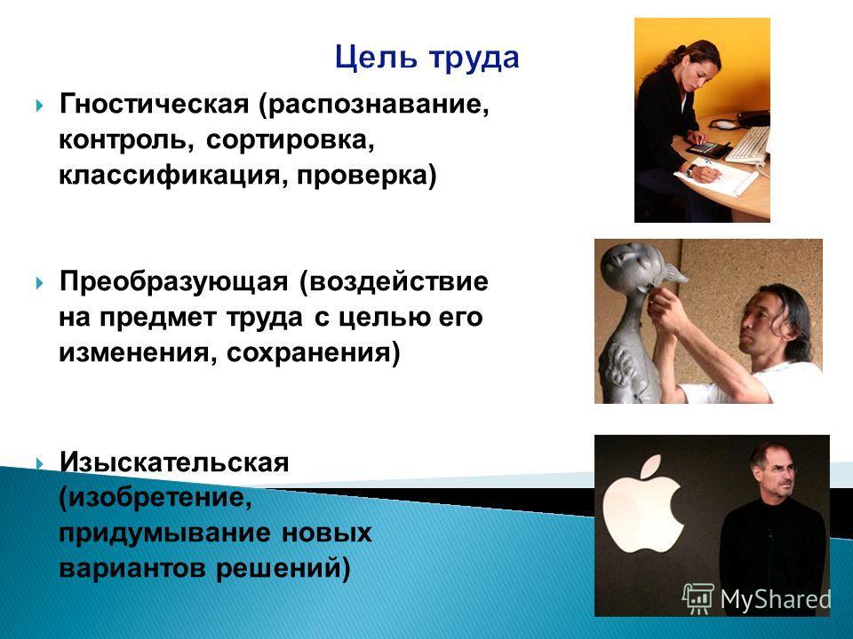 Цель труда Гностическая (распознавание, контроль, сортировка, классификация, проверка) Преобразующая (воздействие на предмет труда с целью его изменения, сохранения) Изыскательская (изобретение, придумывание новых вариантов решений)