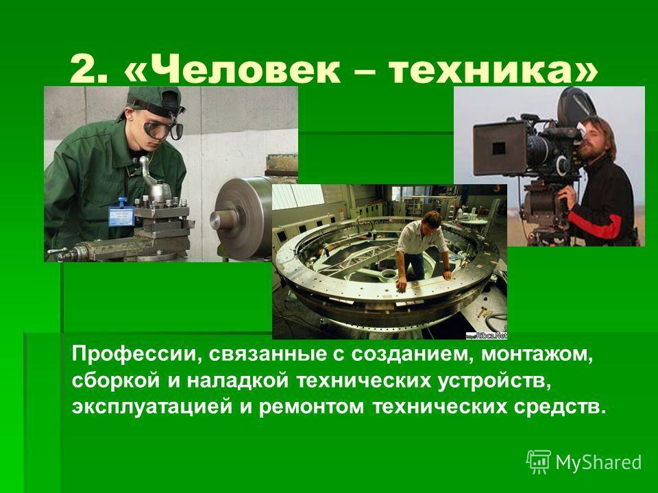 2. «Человек – техника» Профессии, связанные с созданием, монтажом, сборкой и наладкой технических устройств, эксплуатацией и ремонтом технических средств.