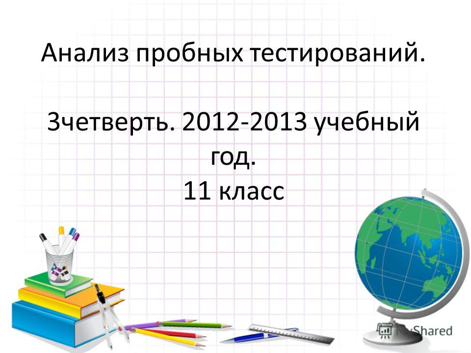 Анализ пробных тестирований. 3 четверть. 2012-2013 учебный год. 11 класс