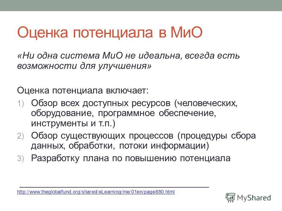 Оценка потенциала в МиО «Ни одна система МиО не идеальна, всегда есть возможности для улучшения» Оценка потенциала включает: 1) Обзор всех доступных ресурсов (человеческих, оборудование, программное обеспечение, инструменты и т.п.) 2) Обзор существую