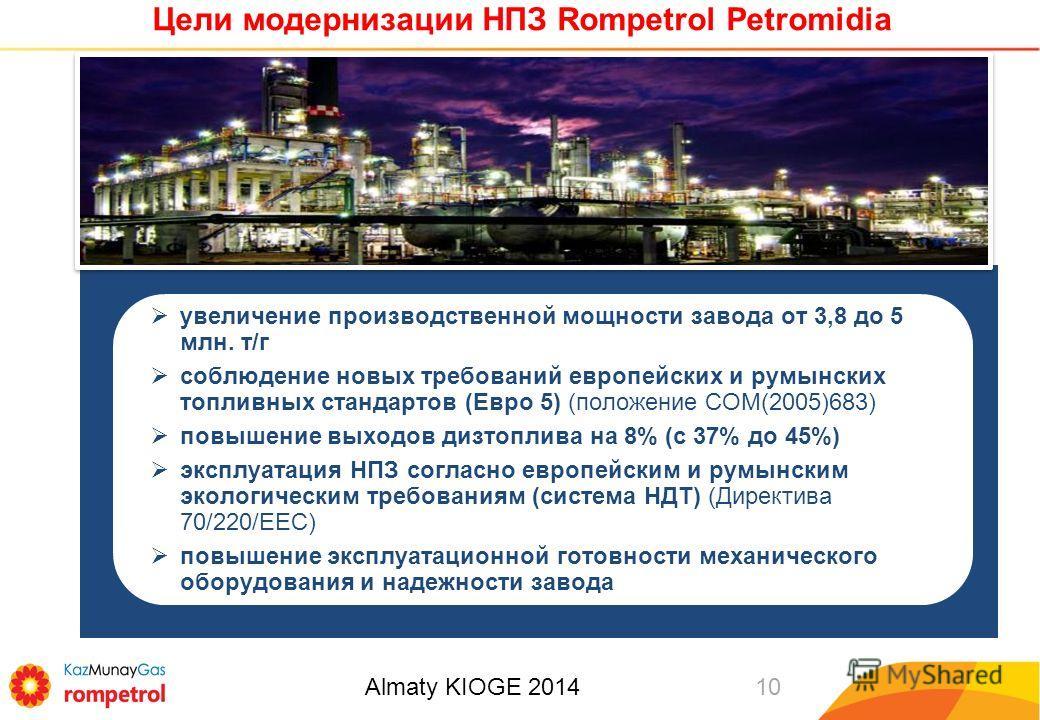 Цели модернизации НПЗ Rompetrol Petromidia 10 увеличение производственной мощности завода от 3,8 до 5 млн. т/г соблюдение новых требований европейских и румынских топливных стандартов (Евро 5) (положение COM(2005)683) повышение выходов дизтоплива на
