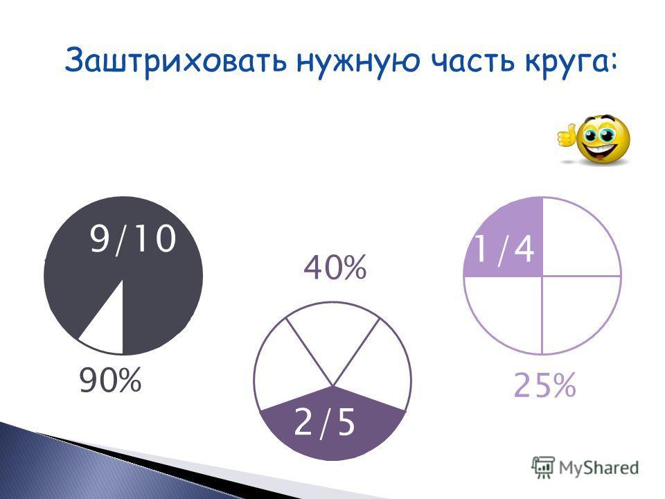 Заштриховать нужную часть круга: 30% 75% 80% 3/10 4/5 3/4