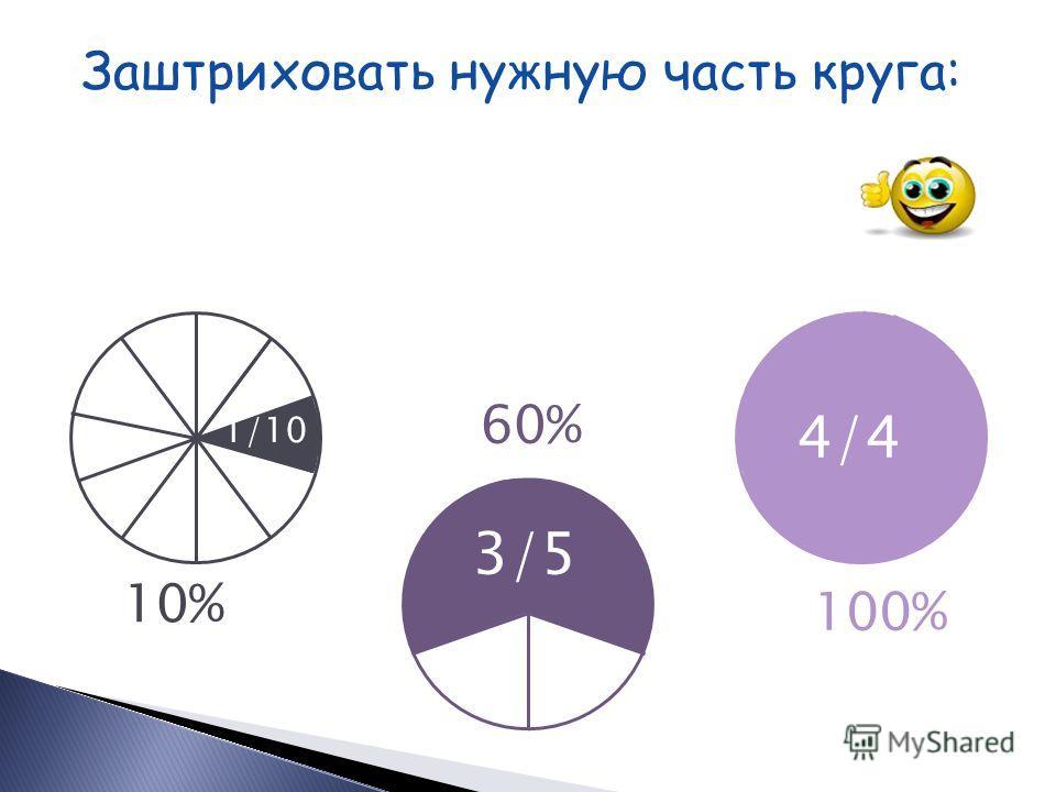 Заштриховать нужную часть круга: 90% 25% 40% 9/10 2/5 1/4